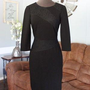 Antonio Melani 3/4 Sleeve Black Midi Dress Size 2